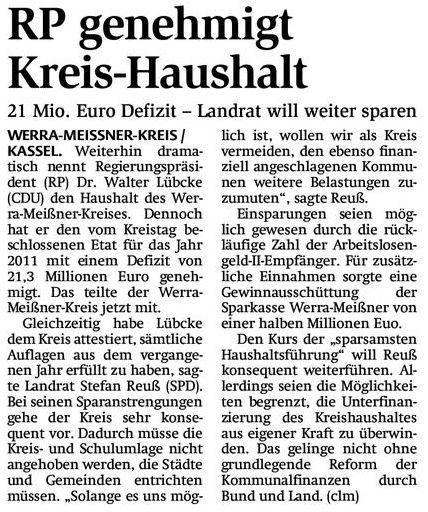 Der Regierungspräsident genehmigt dem Werra-Meißner-Kreis eine Rekordverschuldung